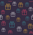 seamless festive pattern with gift boxes vector image vector image