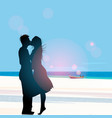 silhouette of a couple in love kissing against vector image