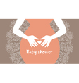Silhouette pregnant mother with heart symbol vector image vector image