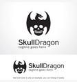 skull dragon logo template design emblem design vector image