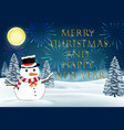 snowman winter christmas and new year celebration vector image vector image