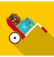 Suitcases on a cart icon in flat style vector image vector image