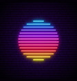 sun neon sign glowing futuristic sun symbol on vector image vector image