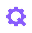 the letter q in the form of a gear the concept of vector image