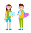 two joyful teenagers dressed in casual clothes vector image vector image