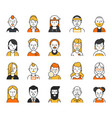 users icon set in linear style various funny vector image vector image