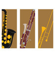 wind musical instruments cards tools acoustic vector image vector image