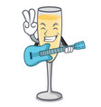 with guitar champagne mascot cartoon style vector image vector image