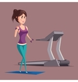 Woman or girl doing weight exercise near treadmill vector image