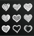 chalkboard sketch of hand drawn hearts set vector image