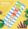 young woman lying on her towel on tropical beach vector image
