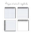 4 types of school copybooks vector image