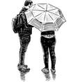 a couple townspeople met in rain vector image vector image