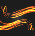 abstract gold line wave curve light on black vector image vector image