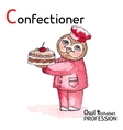 Alphabet professions Owl Letter C - Confectioner vector image vector image
