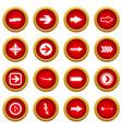 arrow icon red circle set vector image vector image