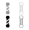 barber shop pole icon set grey black color vector image vector image