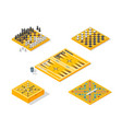 board games icons set isometric view vector image