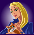 cartoon blonde witch and orange cat vector image