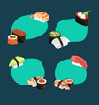 cartoon sushi types stickers set vector image vector image