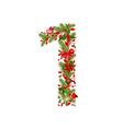 christmas floral tree number 1 vector image vector image
