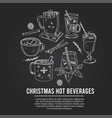 christmas hot beverages set with food vector image