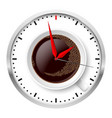 clock and coffee cup on white vector image