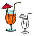 cocktail glass design element for logo label sign vector image