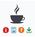 Coffee cup sign icon Hot coffee button vector image vector image