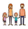 color crayon stripe cartoon family group with vector image vector image