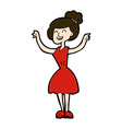 comic cartoon woman with raised arms vector image vector image