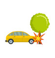 crashed tree icon flat style vector image vector image