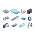 different electronic gadgets collection isometric vector image vector image