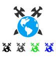 earth swords flat icon vector image vector image
