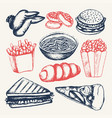 fast food - of color hand drawn vector image vector image