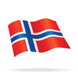 flying norwegian flag norway silk vector image