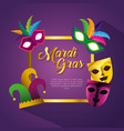 frame with masks and hat decoration to mardi gras vector image