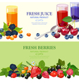 Fresh Berries 2 Flat Banners Set vector image vector image