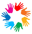 hand print icon 7colors vector image
