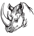 head of rhino black white vector image vector image