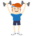 Hipster funny man lifting dumbbells Flat style vector image