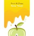 honey drips over an apple rosh hashanah card