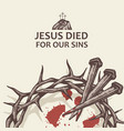 jesus nails with thorn crown vector image vector image
