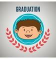 kid on graduation emblem isolated icon design vector image