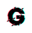 logo letter g glitch distortion diagonal vector image vector image