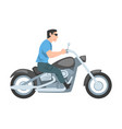 man riding motorcycle side view male biker vector image vector image