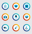 medicine icons colored set with handicapped vector image vector image