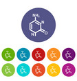 molecule model icons set color vector image vector image