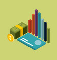 money isometric stacked banknote coin card and vector image vector image
