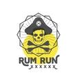 Pirate skull insignia or poster Retro rum label vector image